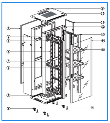 Cold Rolled Steel Server Rack Cabinet Customized Size Disassembled Structure